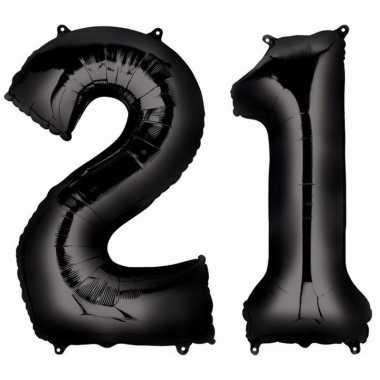 21 jaar leeftijd helium/folie ballonnen zwart feestversiering prijs