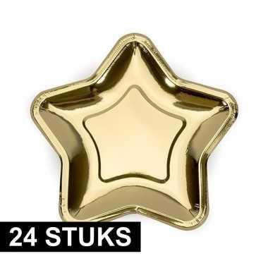 24x gouden wegwerp borden ster van karton prijs