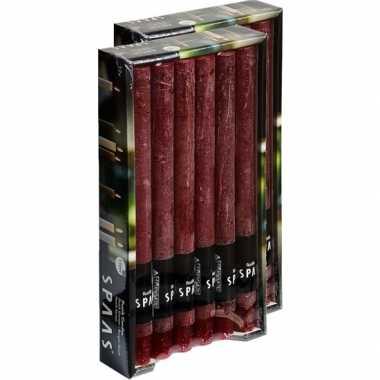 24x lange rustieke kaarsen wijnrood 25 cm 10 branduren huishoudkaarse