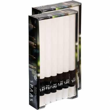 24x lange rustieke kaarsen wit 25 cm 10 branduren huishoudkaarsen/din