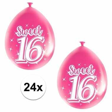 24x leeftijd ballonnen 16 jaar roze feestversiering prijs