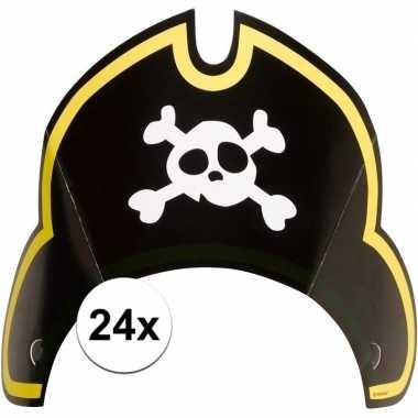 24x piratenfeest verjaardags kartonnen feesthoedjes prijs