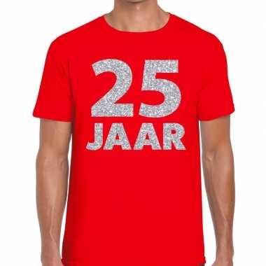 25e verjaardag cadeau shirt rood met zilver voor heren prijs
