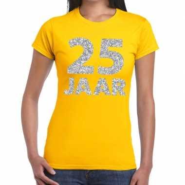 25e verjaardag cadeau t-shirt geel met zilver voor dames prijs