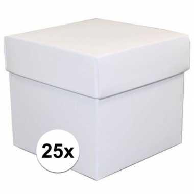 25x stuks witte cadeaudoosjes/kadodoosjes 10 cm vierkant prijs