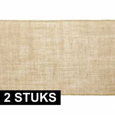2x antiek thema versiering jute tafelloper/placemats 28 x 500 cm prij