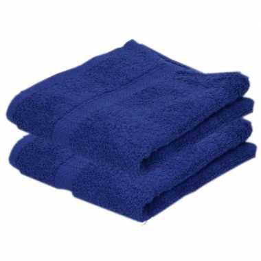 2x badkamer/douche handdoeken blauw 50 x 90 cm prijs