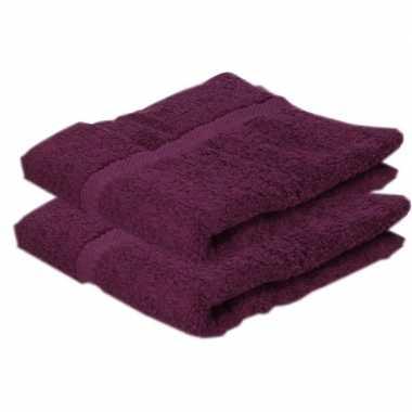 2x badkamer/douche handdoeken bordeaux 50 x 90 cm prijs