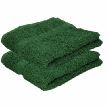 2x badkamer/douche handdoeken donkergroen 50 x 90 cm prijs