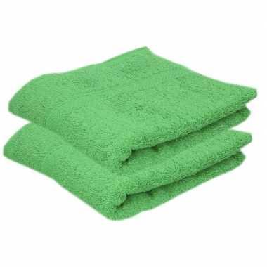 2x badkamer/douche handdoeken groen 50 x 90 cm prijs