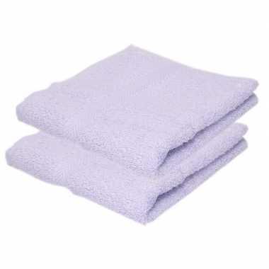 2x badkamer/douche handdoeken lila paars 50 x 90 cm prijs