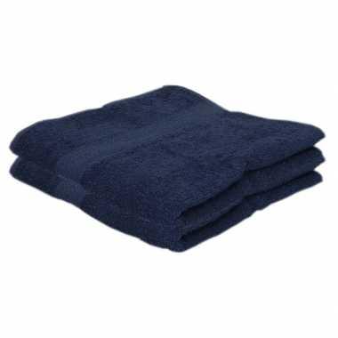2x badkamer/douche handdoeken navy blauw 50 x 100 cm prijs