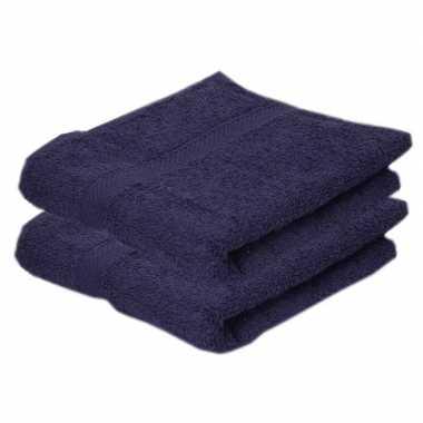 2x badkamer/douche handdoeken navy blauw 50 x 90 cm prijs