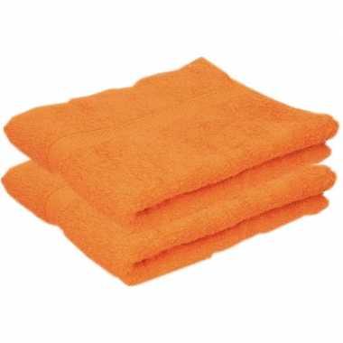 2x badkamer/douche handdoeken oranje 50 x 90 cm prijs