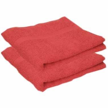 2x badkamer/douche handdoeken rood 50 x 90 cm prijs