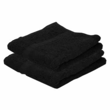 2x badkamer/douche handdoeken zwart 50 x 90 cm prijs