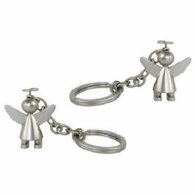2x bescherm engeltje sleutelhanger mat zilver prijs
