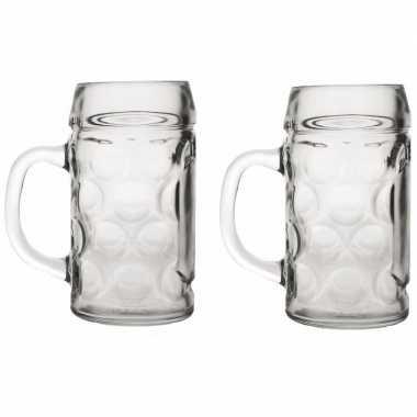 2x bierpullen/bierglazen van 1 liter prijs