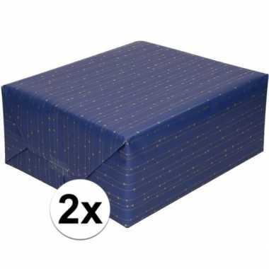 2x blauw cadeaupapier met gouden lijnen 70 x 200 cm prijs