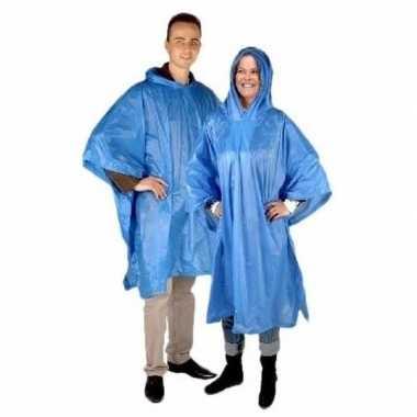2x blauwe regencape met capuchon voor volwassenen prijs