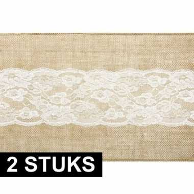 2x bruiloft antiek thema versiering jute/kanten tafelloper 28 x 275 c