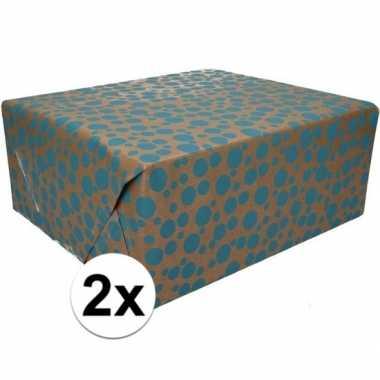 2x bruin cadeaupapier blauwe stippen print 70 x 200 cm prijs