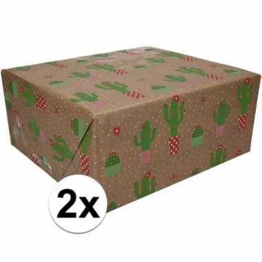 2x bruin cadeaupapier cactus print 70 x 200 cm prijs