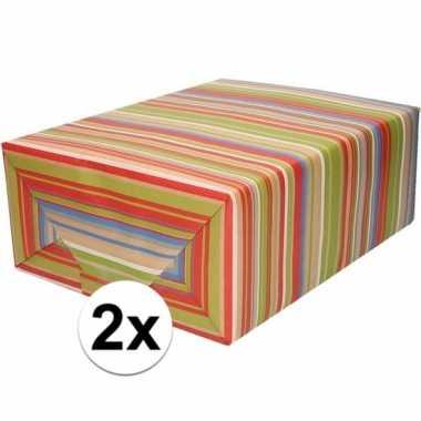 2x bruin cadeaupapier gekleurde strepen 70 x 200 cm prijs