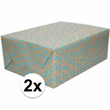 2x bruin cadeaupapier met blauwe stippen print 70 x 200 cm prijs