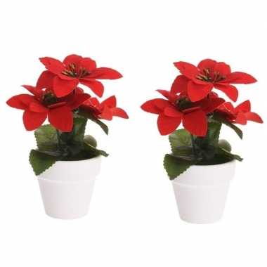 2x budget kunstplanten rode poinsettia bloem met pot 16 cm prijs