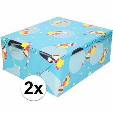 2x cadeaupapier blauw met vos met masker 200 cm prijs