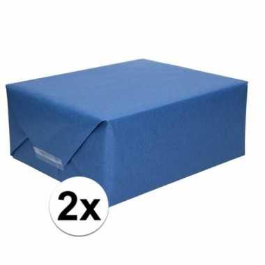2x cadeaupapier donkerblauw 70 x 200 cm kraftpapier prijs