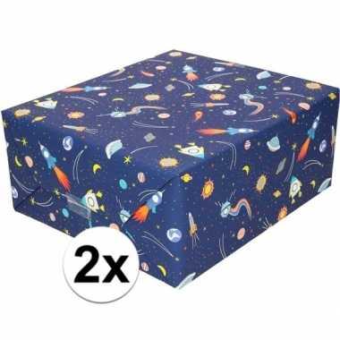 2x cadeaupapier donkerblauw met raketten 200 cm prijs