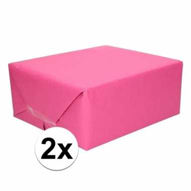 2x cadeaupapier fuchsia roze 70 x 200 cm kraftpapier prijs