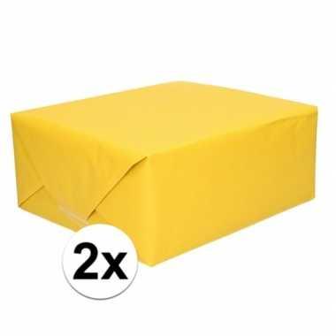 2x cadeaupapier geel 70 x 200 cm kraftpapier prijs
