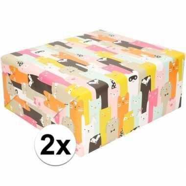 2x cadeaupapier gekleurd met diertjes 200 cm prijs