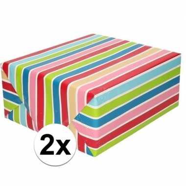 2x cadeaupapier gekleurde streepjes 200 cm prijs