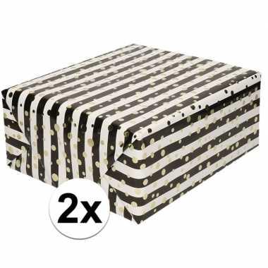 2x cadeaupapier gemetaliseerd wit en zwart gestreept met gouden stipp