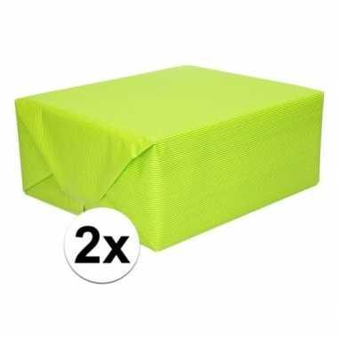 2x cadeaupapier lime groen 70 x 200 cm kraftpapier prijs