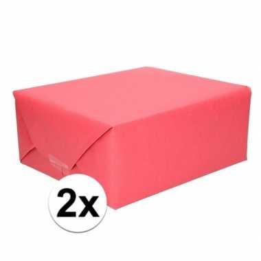 2x cadeaupapier rood 70 x 200 cm kraftpapier prijs