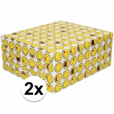 2x cadeaupapier wit met funny faces 200 cm per rol prijs