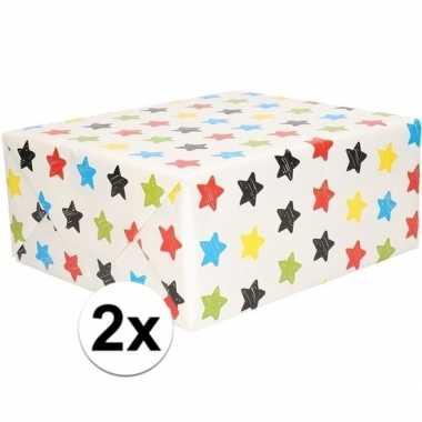 2x cadeaupapier wit met sterren 200 x 70 cm prijs