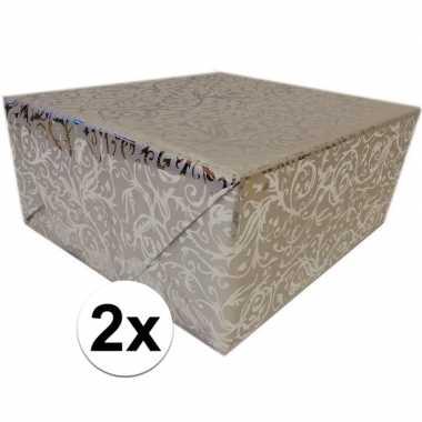 2x cadeaupapier zilver metallic met klassieke print 150 cm per rol pr