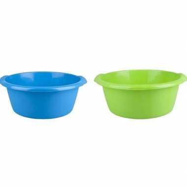 2x camping afwasbak blauw/groen 10l 38 cm prijs