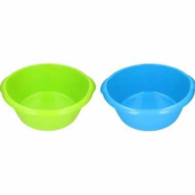 2x camping afwasbak blauw/groen 15l 50 cm prijs