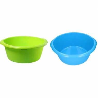 2x camping afwasbak groen/blauw 25l 50 cm prijs