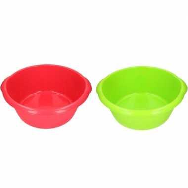 2x camping afwasbak rood/groen 15l 50 cm prijs