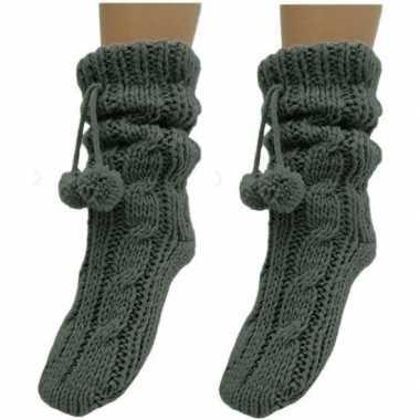 2x dames sokken voor in huis antraciet grijs prijs