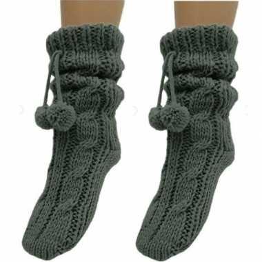 2x dames sokken voor in huis donkergrijs prijs