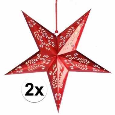 2x decoratie kerstster rood van 60 cm prijs